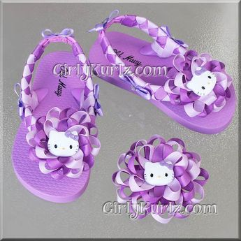 dba3b3a88 Purple   Lavender Hello Kitty Woven Flip Flops Kid by GirlyKurlz