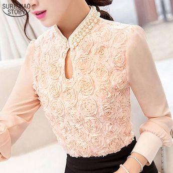 d836aae15409f9 Autumn Korean Women Lace Blouses Elegant White Feminine Long Sleeve Chiffon  Blouse Shirt