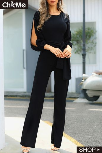Slit Sleeve Knotted Front Jumpsuits
