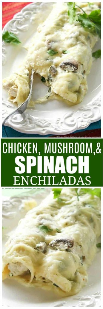 Chicken, Spinach, and Mushroom Enchiladas - creamy enchiladas topped with a cilantro sour cream sauce. This dish is company worthy. #mexican #enchiladas #casserole #spinach #chicken the-girl-who-ate-everything.com
