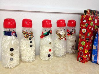 Recycled Coffee-mate bottle snowman craft