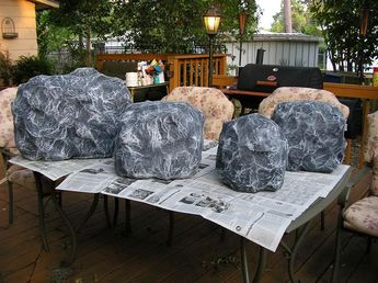 Paper Mache rocks for our campfire.