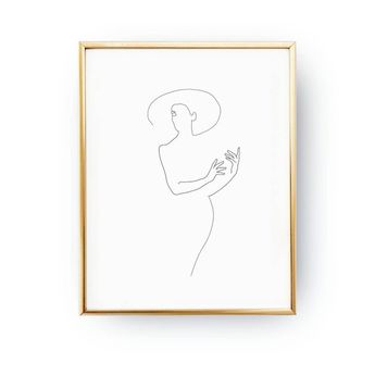 Woman In Long Dress, Woman Figure Print, Woman Print, Black And White, Sketch Art, Beauty Wall Art,