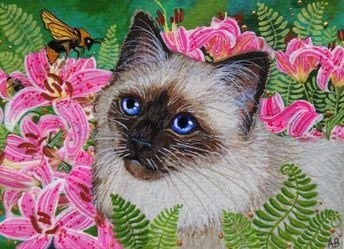 ACEO Original Cat Kitty Kitten Siamese Ragdoll Bee Art Painting Anne Berbling