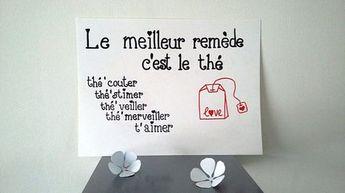 affiche citation Le bon remède c'est le thé
