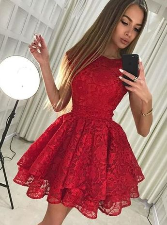 1eef6e2eb8d1 Red Homecoming Dresses,Lace Homecoming Dress,Short Homecoming Dress,HC00077