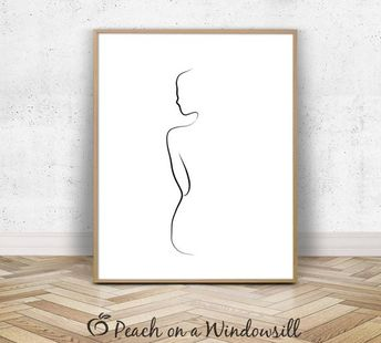Woman Body Print   Naked Girl Drawing   Female Form Art   Artistic Nude Woman Poster   Fine Line Dra