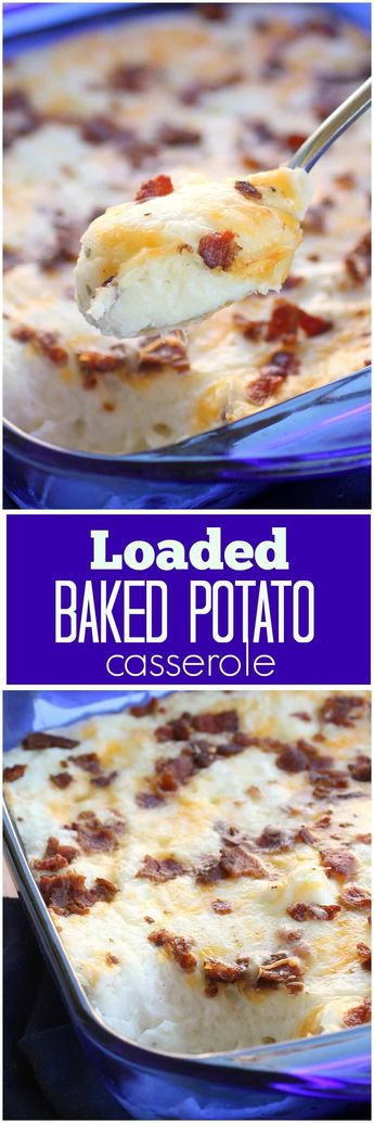 Loaded Baked Potato Casserole - creamy and full of everything you would find in a baked potato. #potatoes #easter #recipe the-girl-who-ate-everything.com