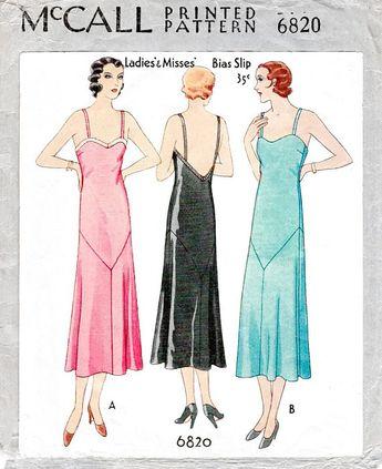vintage sewing pattern 1930 30s pattern evening slip dress deep plunge back // // PICK YOUR SIZE bust 32 34 36 38