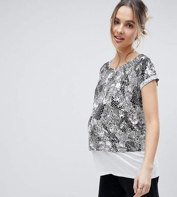 a27abd549656 Asos Maternity - Nursing Asos Maternity Nursing T-Shirt With Double Layer  In Abstract Mono