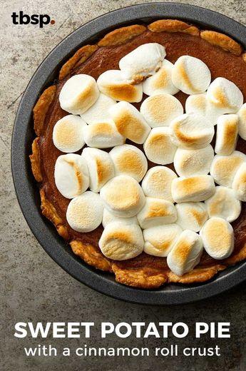 Sweet Potato Pie with a Cinnamon Roll Crust