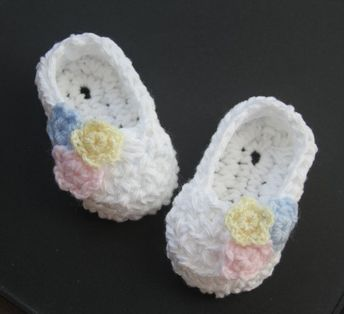 6b6f60e92ce3e Crocheted Infant Baby Girl Baby Booties Christening Crib Sh