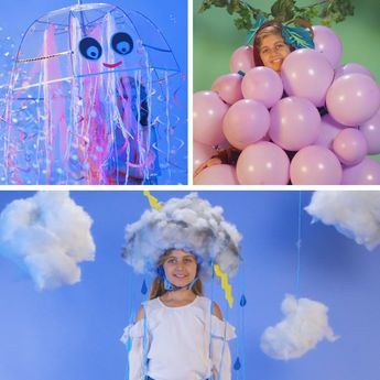 Save time and money with these easy Halloween kids costumes that you can DIY in 15 minutes or less! Learn how to put together raincloud, grape, and jellyfish costumes your kids will love. They're as simple to make as signing up for GEICO, where you could save 15% or more on car insurance. #diycostume #lastminutecostume #halloween