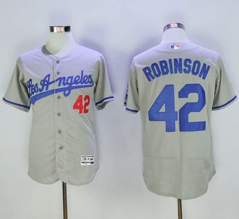 a8cbf2d4a Dodgers  42 Jackie Robinson Grey Flexbase Authentic Collection Road Stitched  MLB Jersey