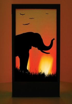 Elephant 2 African Silhouette Panel