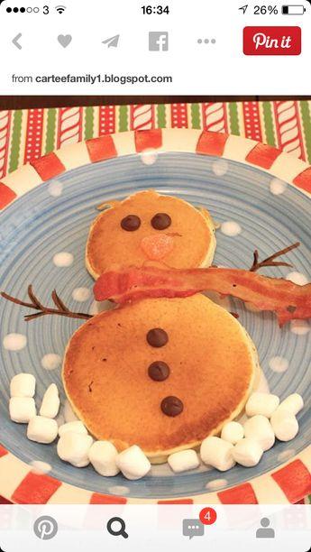 Snowman pancakes and bacon - north pole tea.