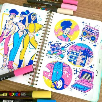 Doodling up some possible stickers for next year! 💖 I think posca is still by far my favourite traditional medium I've used, it's just so…