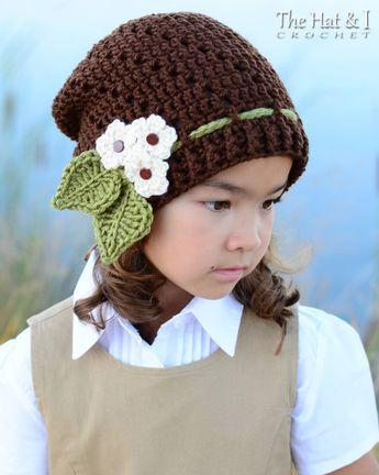 bf0fa12c27d Crochet Hat PATTERN - Little Blooms Slouchy - crochet pattern women girls  slouchy beanie (Toddler