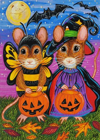 ACEO Original Mouse Mice Halloween Bats Trick or Treat Art Painting A. Berbling #Miniature
