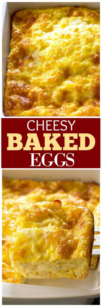 These Cheesy Baked Eggs are a recipe that you can make for company or for your family. Everyone asks for the recipe when I make these. #eggs #egg #recipe #casserole the-girl-who-ate-everything.com