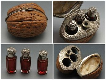 19th century French hinged walnut case with scent bottles & funnel.