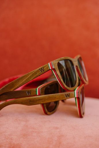 54f952ec8 Woodzee Sierra - Repurposed Skateboard Sunglasses - Rasta Sunglasses.