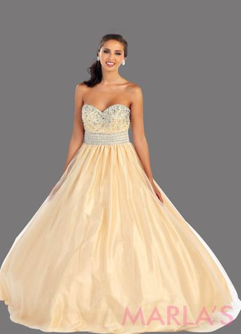 0dd3bb247dcd Long champagne strapless princess quinceanera ball gown with rhinestone  beading. Perfect for Engagement dress,