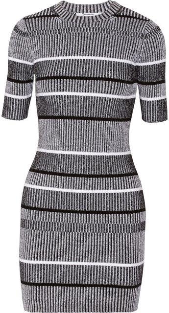 T by Alexander Wang Ribbed-knit cotton-blend mini dress