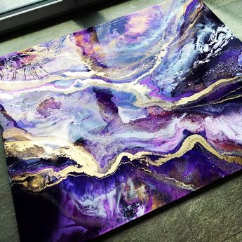 MRS. COLORBERRY @mrs.colorberry Instagram This is it! AMETHYST GALAXY 120x140 cm One final layer has to be poured 💋 #resin #resinartdesign #... #yooying