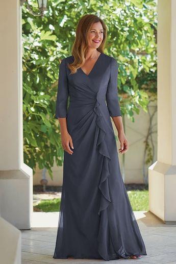 63398d3249 J205010 Long V-neck Lace   Stretch Crepe MOB Dress with Sle