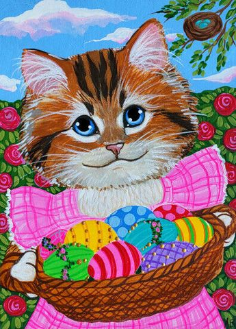 ACEO Original Art Cat Kitten Kitty Calico Easter Eggs Nest Animals Anne Berbling #Miniature