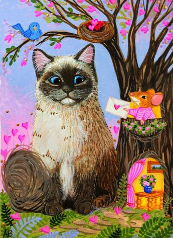 ACEO Original Ragdoll Cat Mouse Valentine Hearts Bird Nest Painting A. Berbling #Miniature