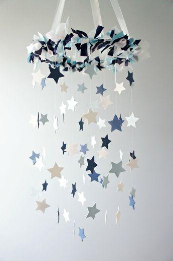 Star Mobile- Blue Nursery Mobile, Shower Gift, Photographer Prop