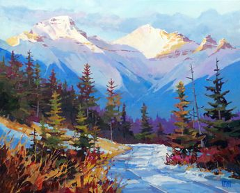 "'Vermillion Lakes Road Winter' 24"" x 30"" acrylic on canvas by Randy Hayashi"