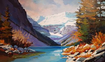 "'Day at Lake Louise' 36"" x 60""  Acrylic on Canvas by Randy Hayashi"