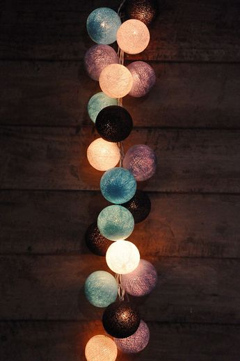 35 Bulbs Retro Mixed Purple, Black, Bule & White cotton ball string lights for Patio,Christmas,Party and Decoration, fairy lights