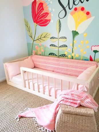 Montessori Floor Bed With Rails Full or Double Size Floor Bed Hardwood INCLUDES SLATS