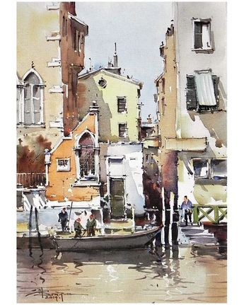 An attractive composition that guides your eye up the narrow alley. This is achieved through the use of vertical lines and detail density. The use of water colors is especially impressive considering how difficult the medium is.