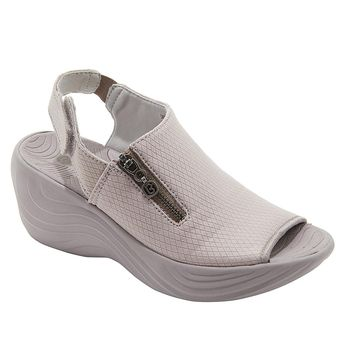 Bzees Zipline Peep-Toe Wedge Sandal - Opal Gray