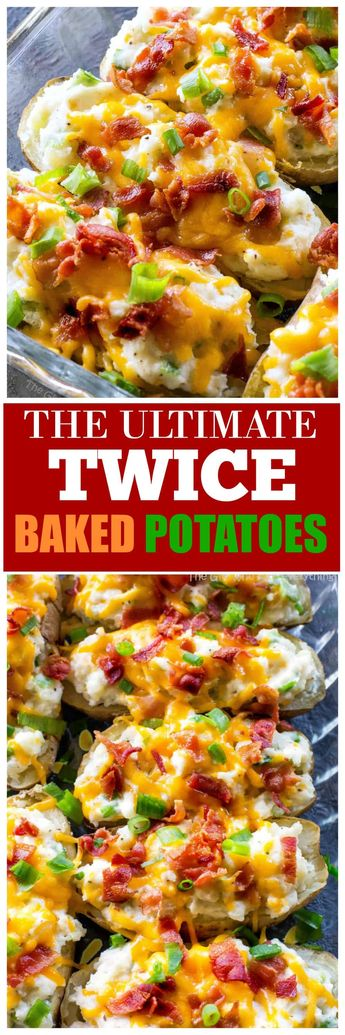 The Ultimate Twice Baked Potatoes - you can go wrong with this side dish. Twice Baked Potatoes are creamy with sour cream and topped with bacon, cheese, green onions. #potatoes #BBQ #potluck #easter #potatoes the-girl-who-ate-everything.com