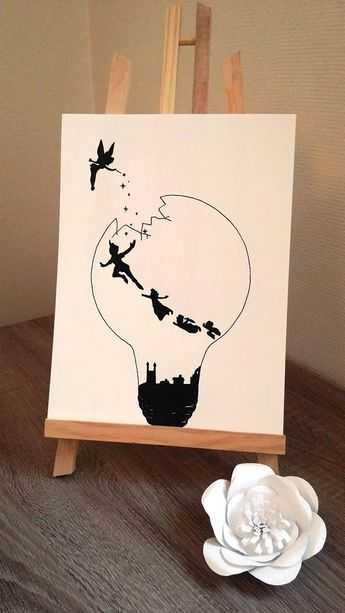 "Poster Illustration black and white bulb ""Peter pan and Tinker Bell"" #illustration"