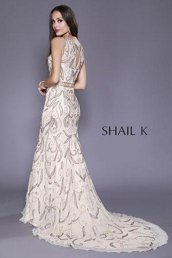 7355154799ee6 Necklace Neckline Embellished Belted Mermaid Style Bridal Dress 12135