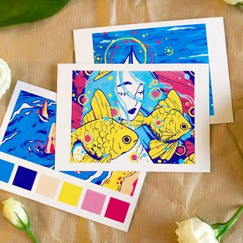 Getting so excited for my store update tomorrow!! ✨✨ I'll have these tiny little mini posca prints as a cute print set and so many other fun things ✨⭐️ I also just really wanted to post and say omg! 300k!!! That's insane! ✨ I'm so grateful for all the support you guys give me 😭😭 #illustration #posca #print #illo #illust #fish #ocean