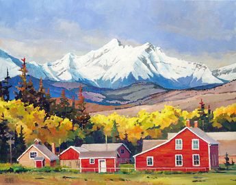 "'Bar U Ranch' Longveiw Alberta 22"" x 28"" Acrylic on canvas by Randy Hayashi"