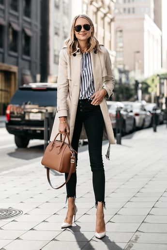 946cef81a73d Fashion Jackson  fashion jackson. Blonde Woman Wearing Club Monaco Trench  Coat Blue White Stripe Shirt Madewell Black Ripped Skinny Jeans