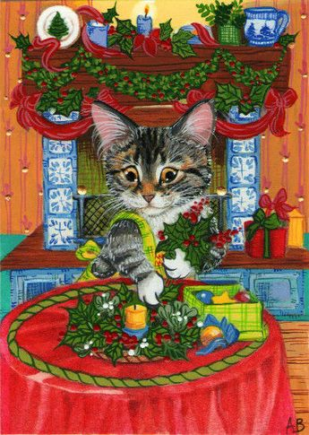 ACEO Original Cat Tabby Kitten Christmas Decorating Holly Fireplace A.Berbling #Miniature
