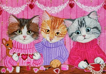 ACEO Original Cat Kitten Tabby Calico Mouse Mice Valentine Hearts Anne Berbling #Miniature