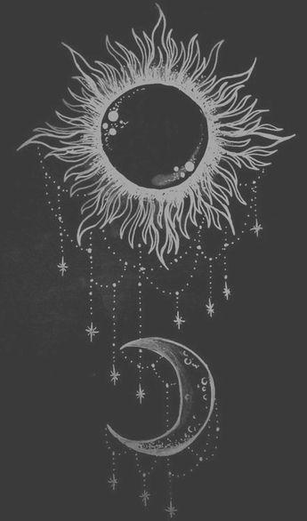 • drawing art Black and White white hipster vintage indie b&w moon black Grunge night draw Black & White dark day sun retro pale sun and moon sweater-weatherrx •