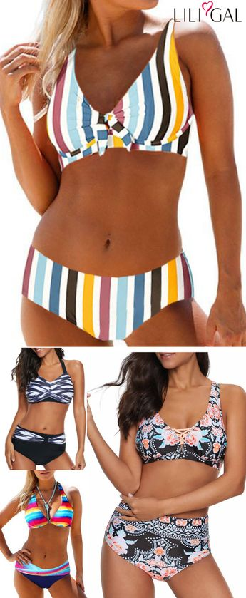 colorful bikinis, high waisted bikinis, cute #bikini #swimwear, #freeshipping worldwide and easy returns, #coupons $6 off over $60, $9 off over $90, code: liligal2019. Click and find the 2019 #swimsuit trends in #liligal.