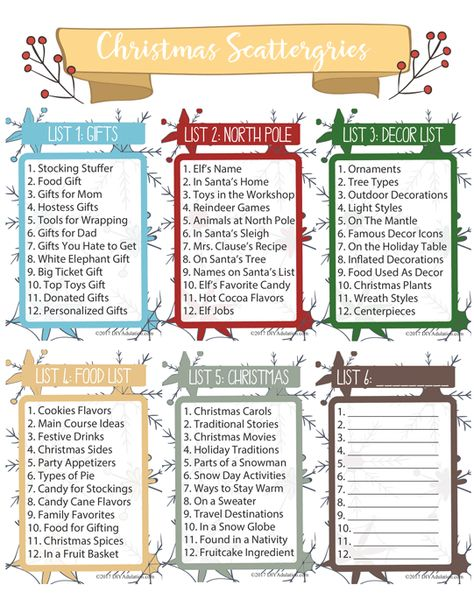 photograph about Scattergories Lists 1 12 Printable referred to as Listing of Pinterest Xmas traditions relatives free of charge
